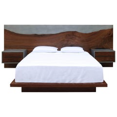 Nola Bed, Customizable Wood, Metal and Resin, King-Size