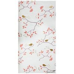 Geobird Screen Printed Wallpaper in Metallic Gold/Bronze, and Tomato Red on Snow