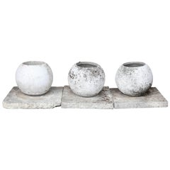 Midcentury French Cast Stone Sphere Planter Trio