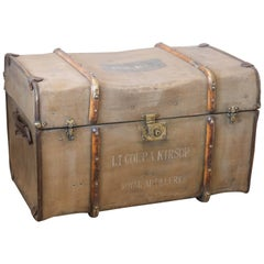1940s Royal WWII Canvas Artillery Trunk Found in France