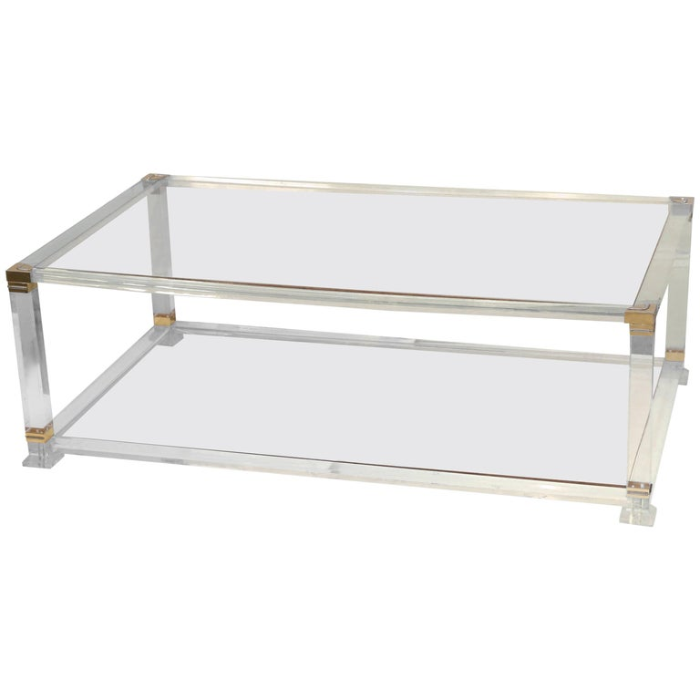 Midcentury French Lucite And Brass Cocktail Table With Glass Shelves For Sale At 1stdibs