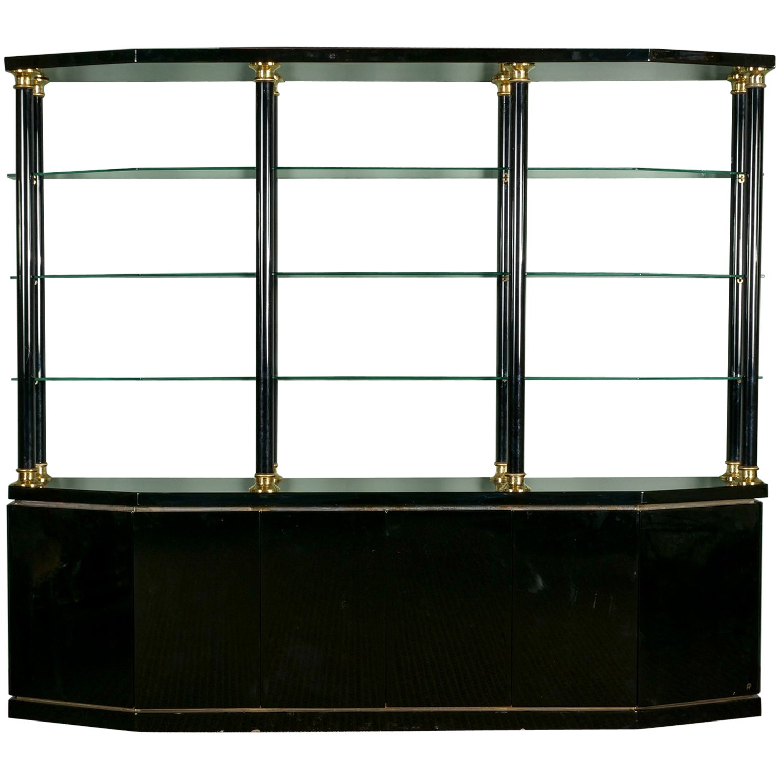 Midcentury Italian Black Lacquer and Brass Wall Unit