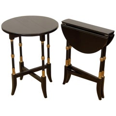 Black Lacquer Regency-Style Folding Occasional Tables from the Fontainebleau