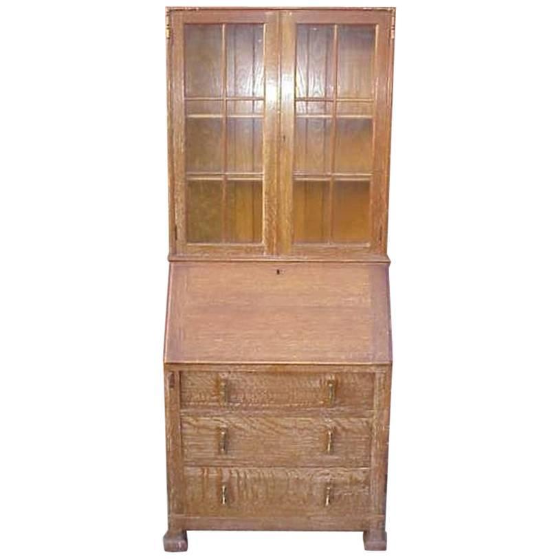 Heals A Limed Oak Bureau Bookcase of Slim Proportions on Sledge