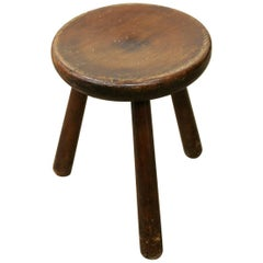 Tripod Larch Stool Attributed to Charlotte Perriand