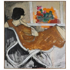 Modern Painting of a Reclining Figure in a Chair