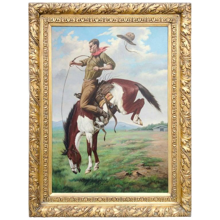 """Late 19th Century Portrait of a """"Cowboy"""" by Belgian Artist J. Vanleemputten"""