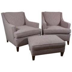 Pair of Larson Armchairs and Ottoman in Lilac