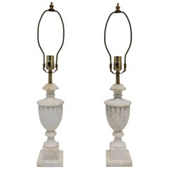 Pair of Italian Classical Roman White Marble Urn Table Lamps
