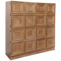 Modernist Two-Piece Cerused Oak Cabinet