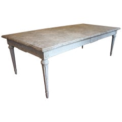 19th Century French Painted Dining Room Table with Faux Marble Top