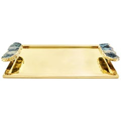 Héritage Medium Serving Tray in Pure Emerald and Gold - In Stock