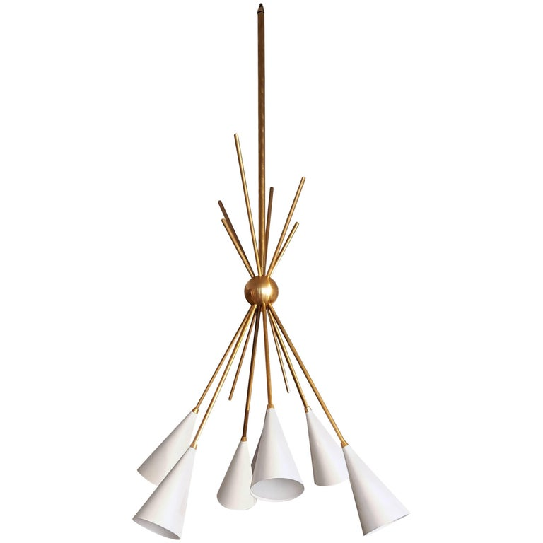 """""""Bouquet"""" Chandelier in Enamel and Antiqued Brass by Blueprint Lighting, 2017"""