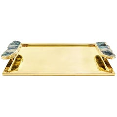 Héritage Large Serving Tray in Pure Emerald and Gold - In Stock