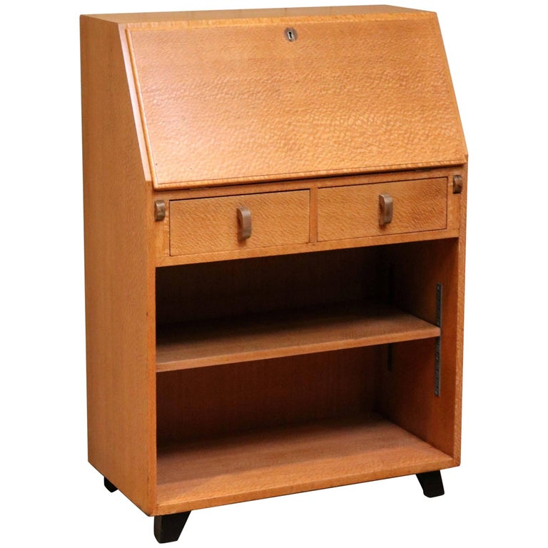Unusual Australian Silky Oak Art Deco Bureau For Sale at 1stdibs