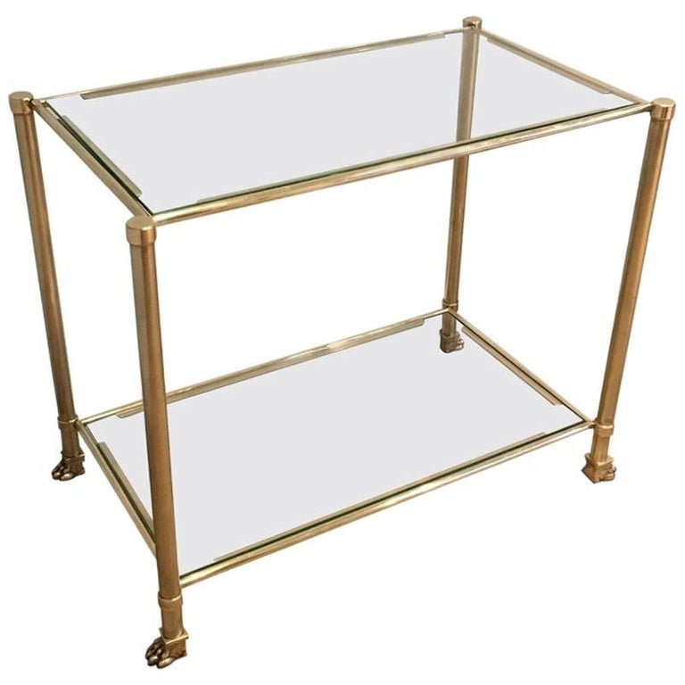 Brass and Glass Rectangular End Table by Guy Lefevre