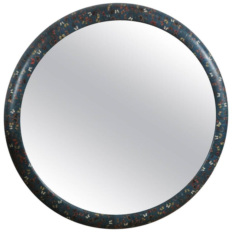 Round Mirror with Decoupaged Butterflies