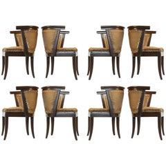 Set of Eight Romweber Solid Oak Dining Chairs by Harold Schwartz
