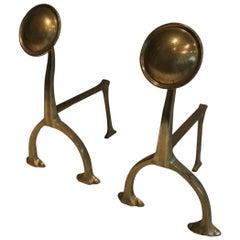 Pair of Art & Crafts Brass Andirons