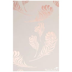Plume Screen Printed Wallpaper in Metallic Copper on Snow