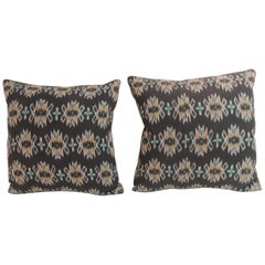 Pair of Ikat Decorative Pillows with Trim