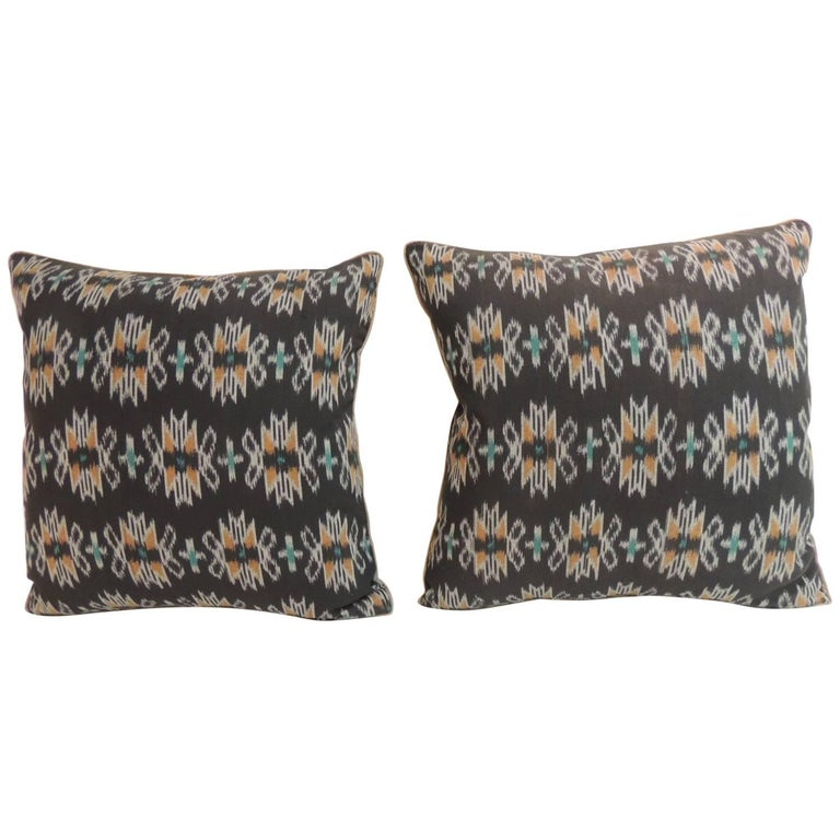 Decorative Pillows Trim : Pair of Ikat Decorative Pillows with Trim For Sale at 1stdibs