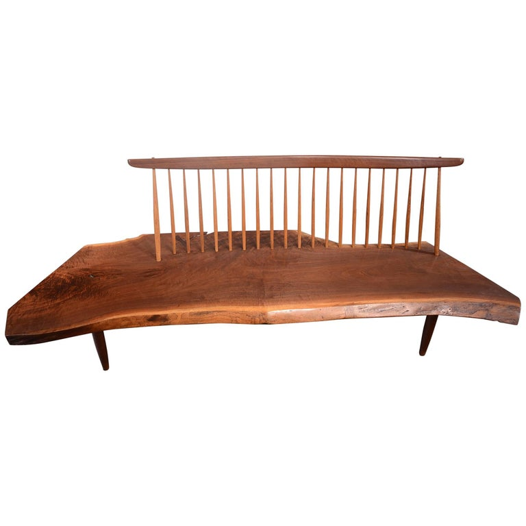 Walnut Conoid Bench by George Nakashima For Sale