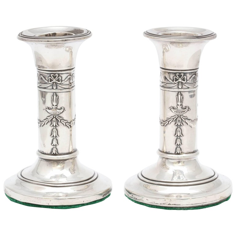 Pair of Small Edwardian Sterling Silver Candlesticks For Sale