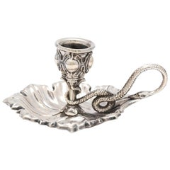 Victorian Continental Silver '.800' Leaf Form Chamberstick with Snake Handle