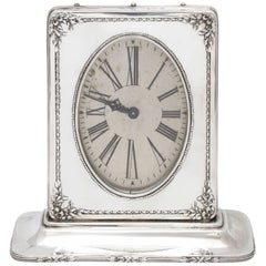 Edwardian Sterling Silver Eight Day Table/Mantel Clock