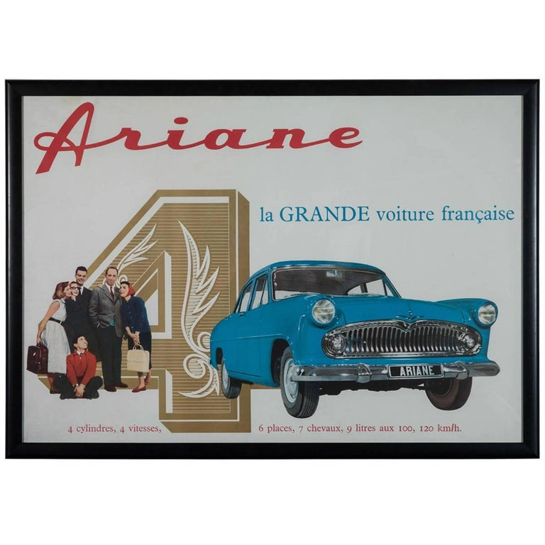 Framed Large Rare Vintage French Ariane Automobile Poster, 1960s