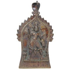 Indian Bronze and Copper Alloy Plaque of Four-Armed Durga, 18th-19th Century
