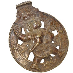 Bronze and Copper Alloy Roundel of Hanuman, the Hindu Monkey God