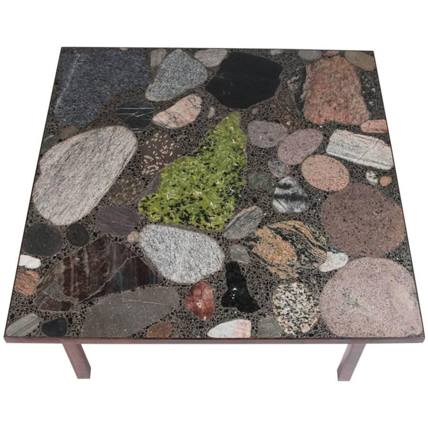 Terrazzo Top Table of Norwegian Stones by Architect Erling Viksjo