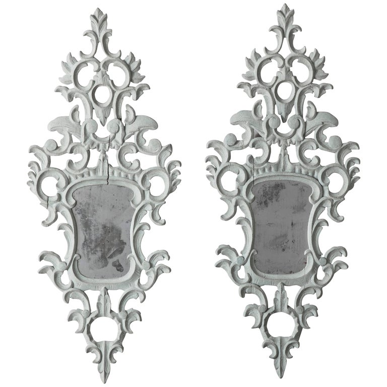 19th Century Pair of Venetian Mirrors Appliqués with Original Mirror Plate
