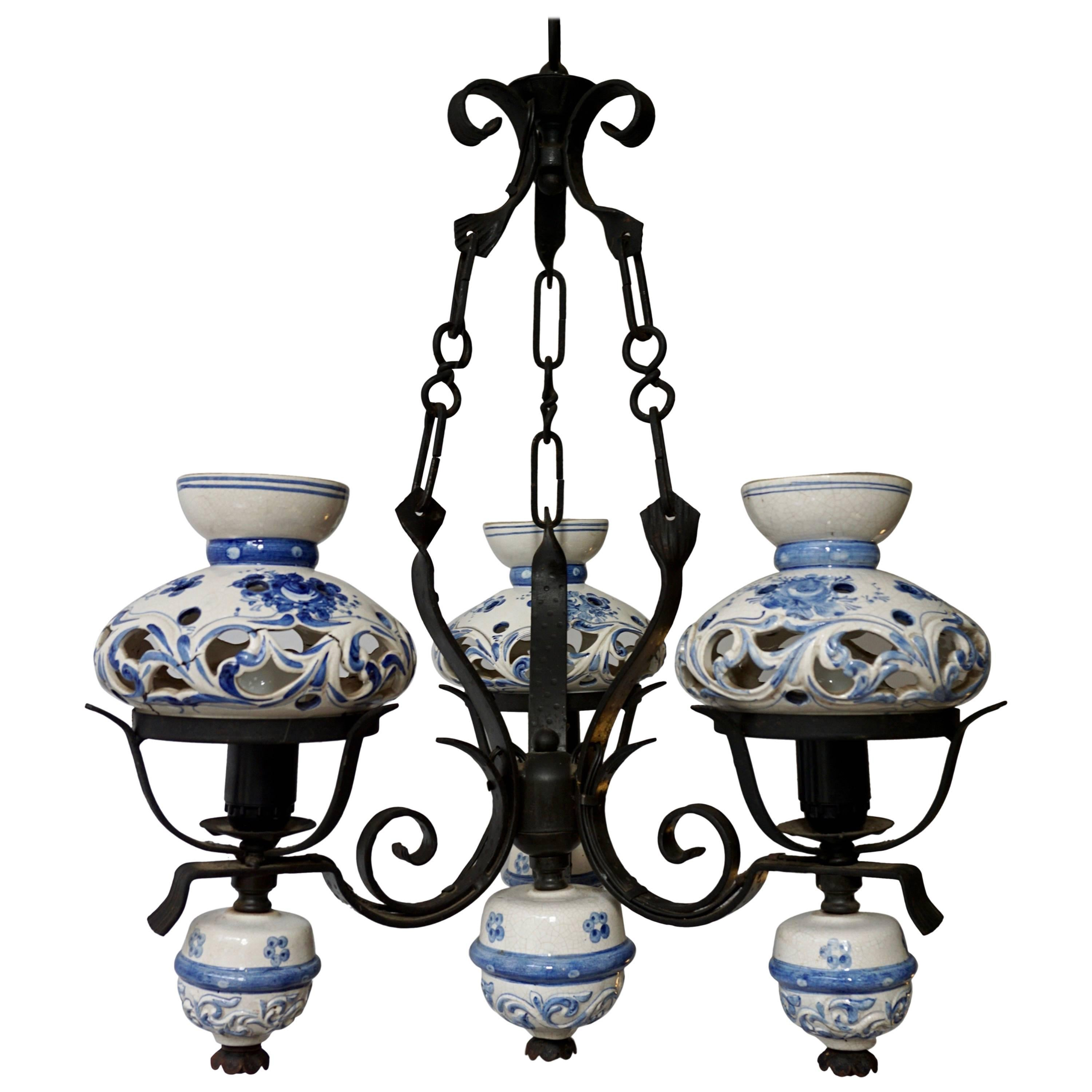Blue and white delft chandelier circa 1940 at 1stdibs arubaitofo Choice Image