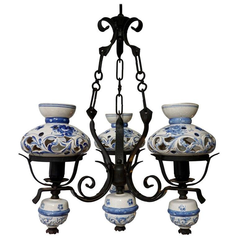 Original Delft's Blue Chandelier
