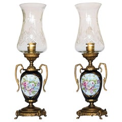 Pair of Vintage Cobalt Blue Ace Decor De Paris Porcelain Vase Table Lamps
