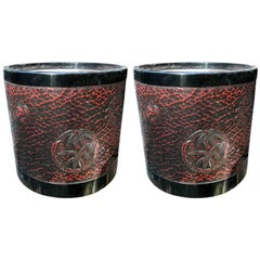 "Fine Japan Pair Antique Red Lacquer ""Chrysanthemum"" Bowls Hibachi Planters Boxed"