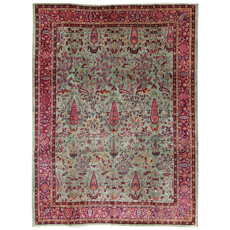 Antique Cotton Agra Rug With Abrash Circa 1900 For Sale: Antique Agra Rug With Branching Floral Design In Mint