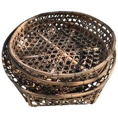 Japanese Antique Nesting Set Four Big Tea Leaf Baskets
