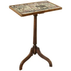 Early 19th Century Louis Philippe Period Walnut Side Table with Tapestry Top