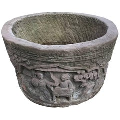 China Large Antique Hand-Carved Red Stone Garden Planter Basin, 19th Century