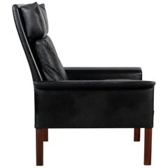Hans Olsen Armchair in Black Leather Rosewood Scandinavian Danish
