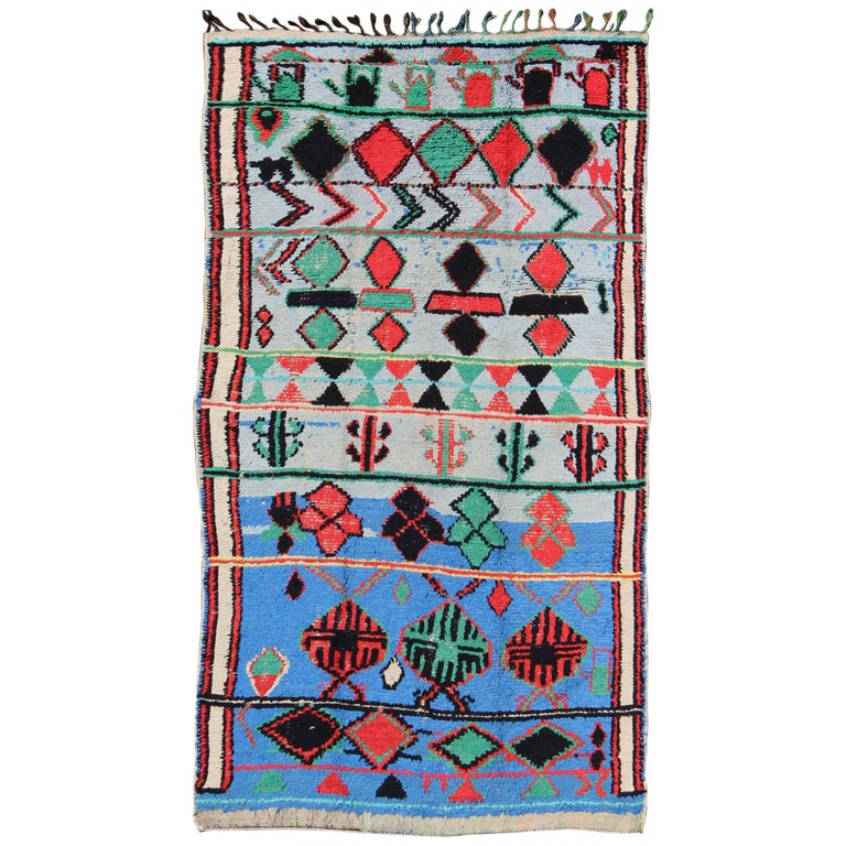 Vivid and Vibrant Vintage Moroccan Rug with Scattered Tribal Motifs