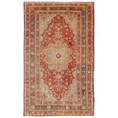Antique Oushak Rug in Soft Red, Brown and Tan