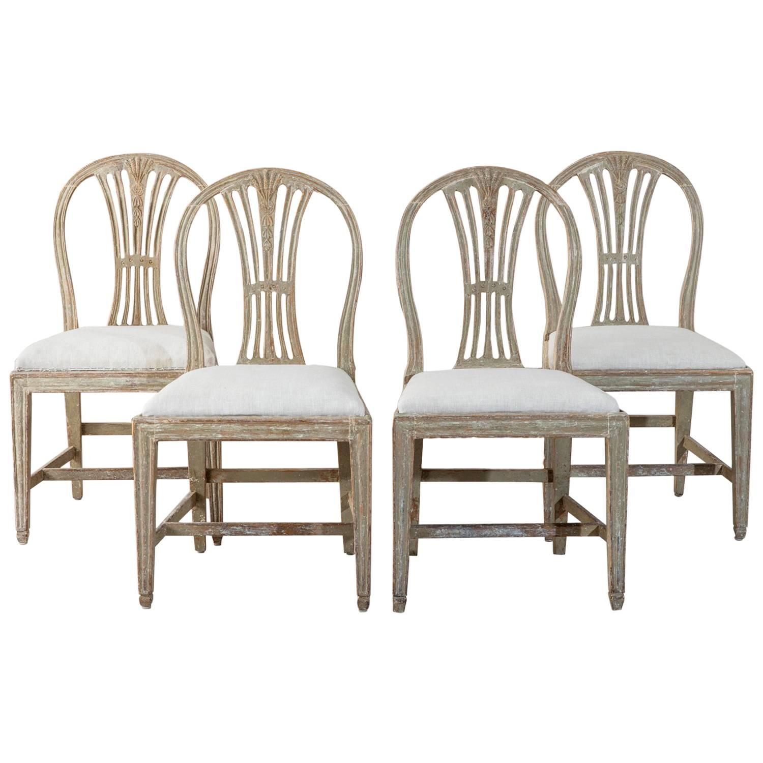 Furniture of america chaves contemporary 3 piece sofa set - 18th Century Swedish Period Gustavian Oval Back Side Chairs In Original Paint