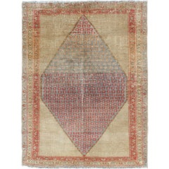 Diamond Medallion Antique Serab Persian Rug with Floral Borders