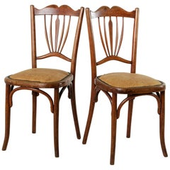 Pair of Early 20th Century French Art Deco Period Bentwood Thonet Bistro Chairs