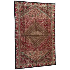 Hand Embroidered Mughal silk and metal threaded tapestry, India